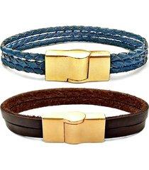 2 pulseiras gafeno de couro masculina marrom