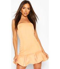 bandeau mini-jurk met pofzoom, abrikoos
