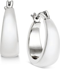 charter club silver-tone satin finish hoop earrings, created for macy's