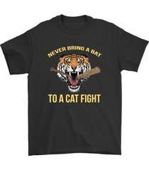 never bring a bat to a cat fight shirt twd king ezekiel unisex black tee shirt