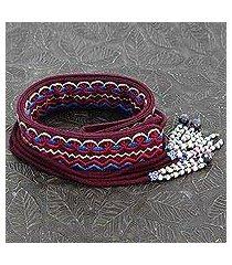 beaded cotton tie belt, 'beautiful in burgundy' (india)