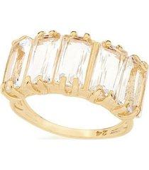anel aro fino laterais vazadas composto por cristais rommanel