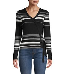 stripe rib-knit wrap top