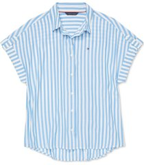 tommy hilfiger adaptive women's everglades striped shirt with magnetic buttons