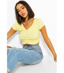 ruched detail crop t shirt, yellow