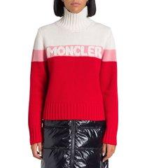 moncler turtleneck sweater with logo intarsia