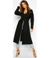 oversized robe belted coat, black