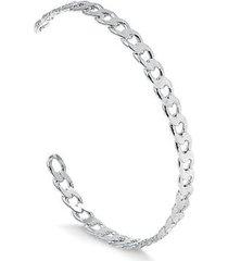 bracelete francisca joias regulável c/ design de corrente groumet folheado em ródio