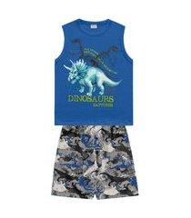 conjunto infantil menino dinosaurs azul - fakini forfun