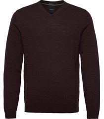100 % merino v-neck knit gebreide trui v-hals bruin lindbergh