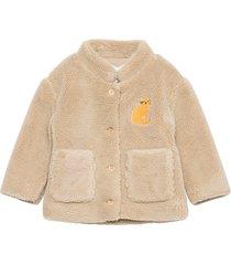 cat patch sheepskin jacket outerwear fleece outerwear fleece jackets beige bobo choses