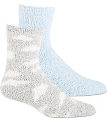 jenni women's 2-pk. clouds & solid crew cozy socks, created for macy's