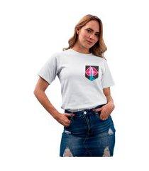 camiseta feminina mirat bolso estampado shhh branca