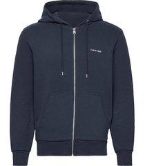 embroidery zip-through hoodie hoodie trui blauw calvin klein