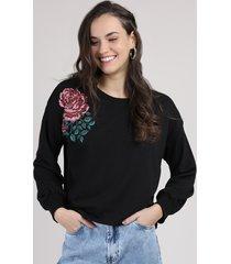 blusão de moletom feminino com bordado floral decote redondo preto