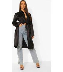 duster jas met zak detail en geplooide taille, black