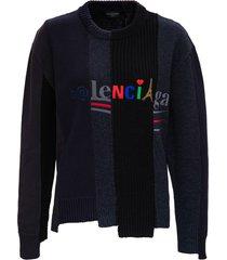 balenciaga cotton and wool l/s sweatshirt with logo