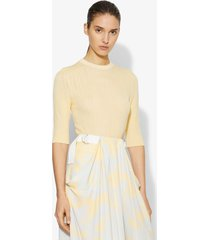 proenza schouler crinkle texture crewneck knit top butter/yellow l