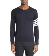 men's thom browne merino wool pullover, size 4 - blue