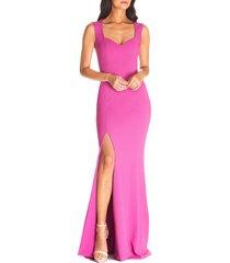 women's dress the population monroe side slit gown, size x-small - purple