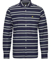 double stripe brushed shirt overhemd casual blauw lyle & scott