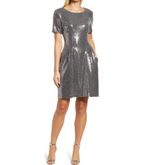 caxlz by connected apparel kym sequin fit & flare cocktail dress, size 6 in silver at nordstrom