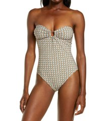 women's tory burch printed bandeau one-piece swimsuit, size small - purple