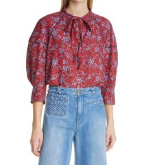 women's see by chloe floral sweetheart tie neck crepe blouse, size 0 us - red