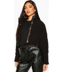 crop fleece puffer jacket, black