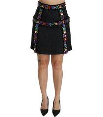 crystal verfraaid hoge taille rok