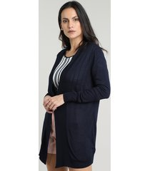 capa feminina básica longa em tricô azul marinho