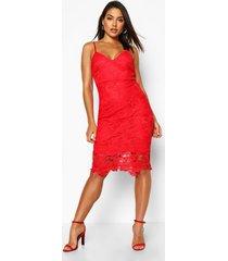 boutique midi-jurk met bandjes van gehaakte kant, rood