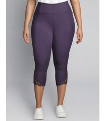 lane bryant women's livi active signature stretch capri legging - crochet hem 22/24 purple