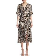 elie tahari women's ava cheetah-print silk dress - sorrel multicolor - size 6