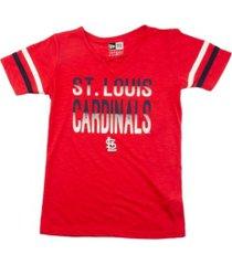 new era st. louis cardinals youth girls glitter tie up t-shirt