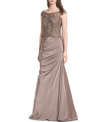 women's la femme beaded lace ruched gown, size 10 - brown