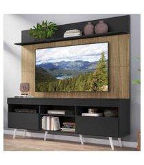 """rack com painel tv 65"""" madri multimóveis preto/rustic com prateleira e pés retrô branco"""