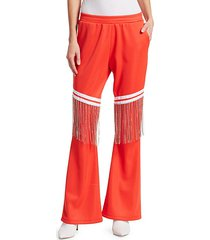 jeweled-fringe cotton track pants