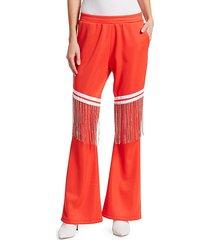 jeweled-fringe cotton track pants