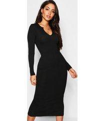 jumbo ribgebreide midaxi-jurk met ingekeepte hals, zwart