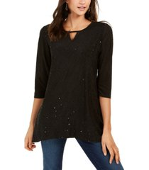 ny collection petite embroidered keyhole top