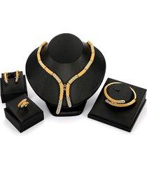 set di gioielli da sposa di lusso strass 18k oro bastone bar braccialetto anello collane orecchini per le donne