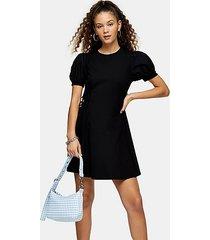black poplin sleeve mini dress - black