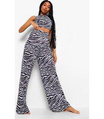 mix & match zebraprint pyjama broek, black
