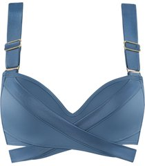 cache coeur push up bikini top | wired padded air force blue - 70f