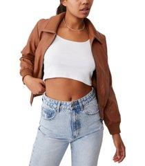 women's vegan faux leather bomber jacket