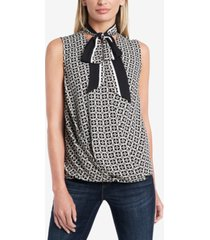 vince camuto petite printed tie-neck top