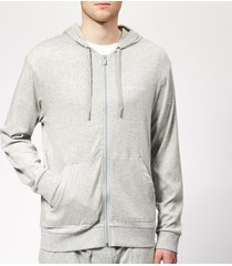 calvin klein men's full zip lounge hoodie - grey heather - m - grey