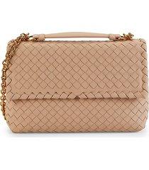 bottega veneta women's intrecciato leather shoulder bag - tan