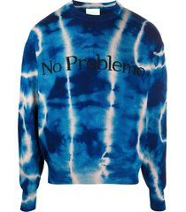 aries blue wool tie-dye print jumper